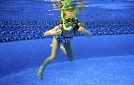 snorkelling child