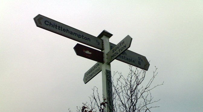Village road sign in Devon by Mark Hillary Some Rights Reserved
