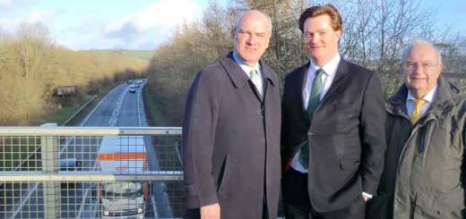 left to right, Nick Harvey MP, Chief Secretary to the Treasury Danny Alexander MP, North Devon District Council leader Cllr Brian Greenslade next to the A361 North Devon Link Road