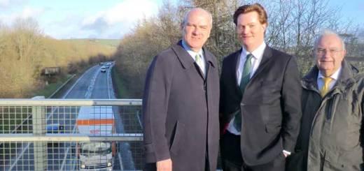 left to right, Nick Harvey MP, Chief Secretary to the Treasury Danny Alexander MP, North Devon District Council leader Cllr Brian Greenslade next to the A361 North Devon Link Road