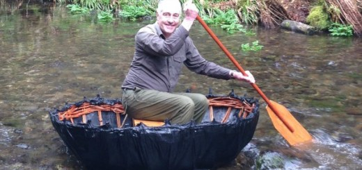 Volunteer ranger, Phil Ireland, finally mastering the replica coracle Credit: National Trust/Stephen Phillips
