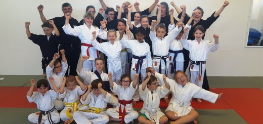 students and teachers from Seaton Martial Arts Centre on the refurbished floor