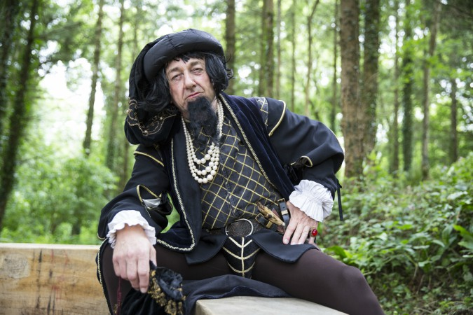 First hall owner John Holand played by Natural Theatre Company at Dartington Deer Park launch. Courtesy of Rebecca Clelland