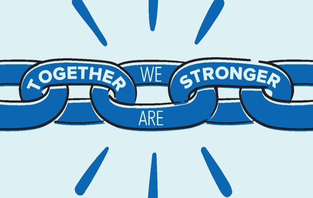 a drawing of chain links with Together We Are Stronger on it