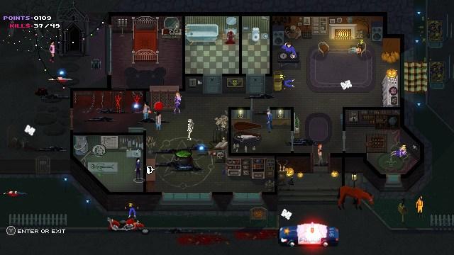 Party Hard, Pinokl, Tiny Build Games, PC Games, 8 bit games, hotline miami, top down slasher,