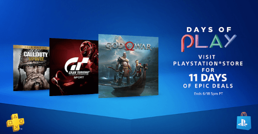 playstation days of play 2018, playstation 4 games, ps4 deals, playstation console campaign, new blue ps4 slim,
