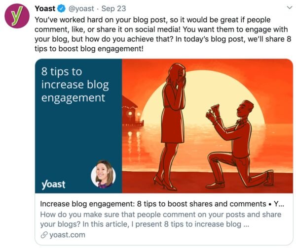 example twitter post with social media optimization in yoast seo
