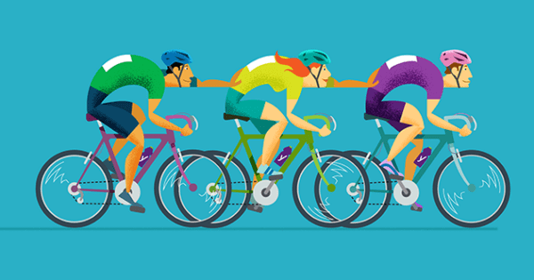 Illustration of people cycling and helping each other move faster