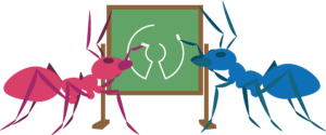 open source illustration of ants drawing together on a chalk board