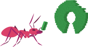 open source illustration of ant building something without waste