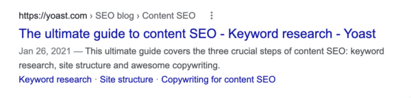 example of title in google's search results