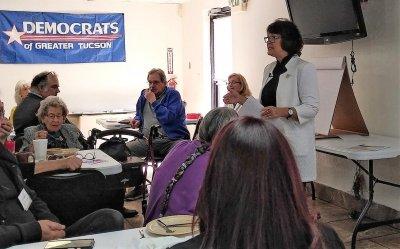 State Senator Victoria Steele addresses a DGT meeting.