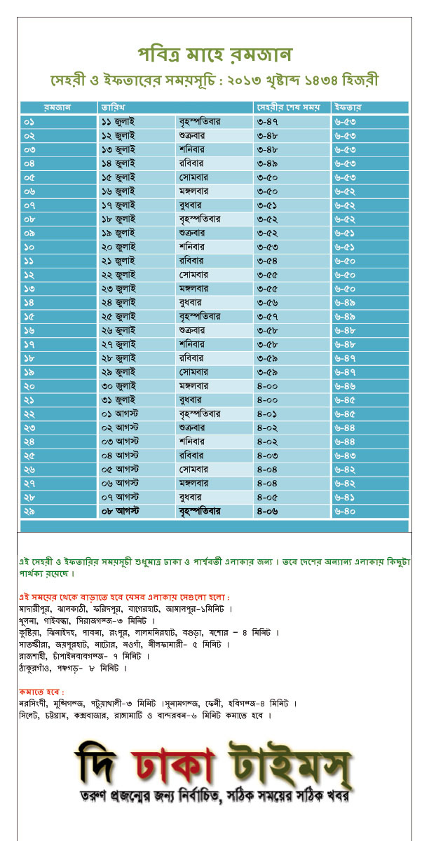 Sehri and Iftar Timetable for Dhaka 2013
