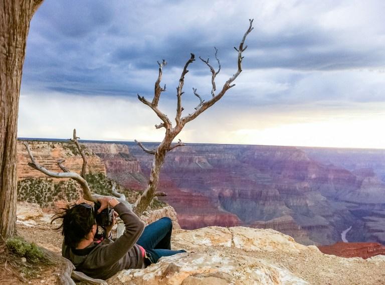 photographer shooting Grand Canyon