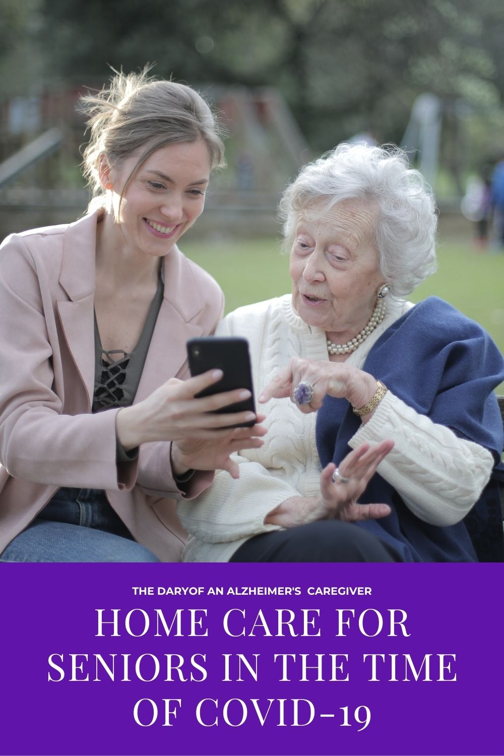 younger woman showing something to older woman on her phone