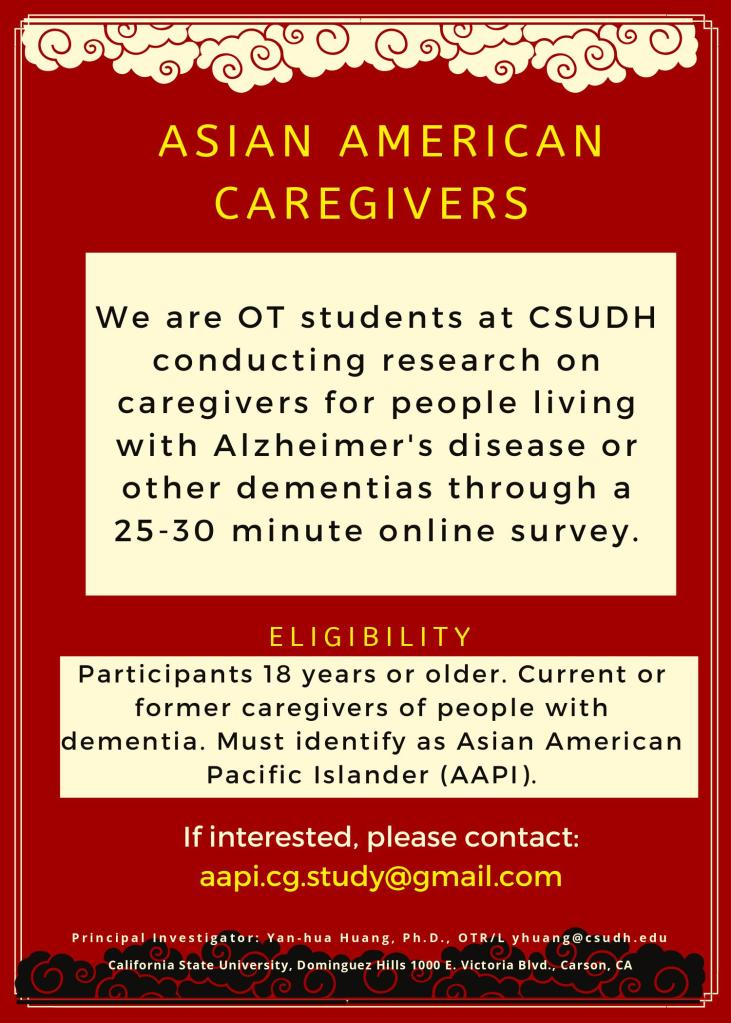 Flyer for Asian American Caregiver's survey