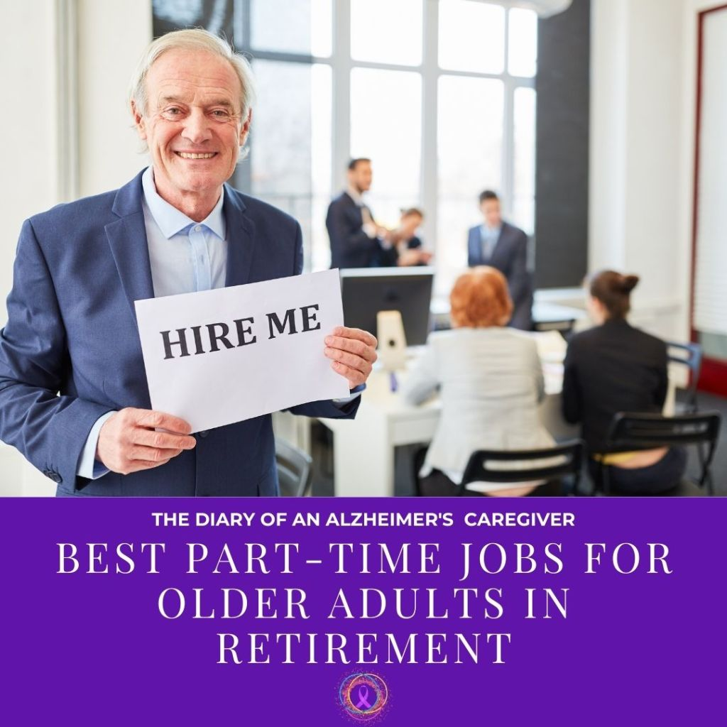 elderly man holding a hire me sign