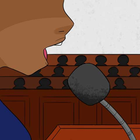 In a courtroom Jocelyn is giving a testimony into a microphone.