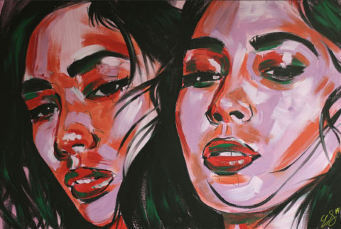 painting done by Esan Sommersell showing two women