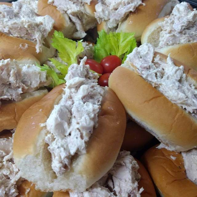 Chicken salad finger sandwiches for catering
