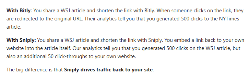 bitly sniply difference