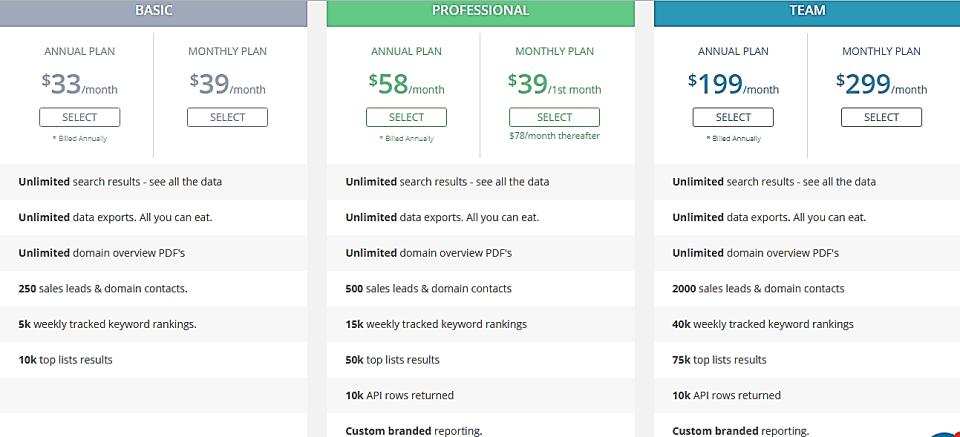 spyfu pricing chart