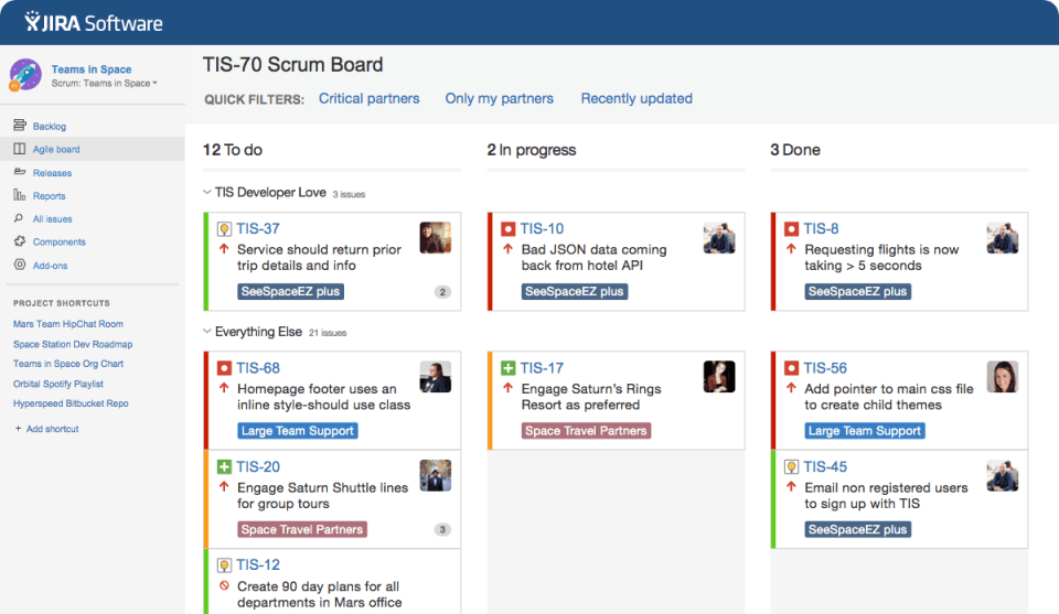 JIRA Software agile board