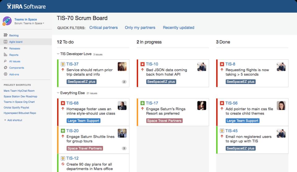 JIRA Software agile board