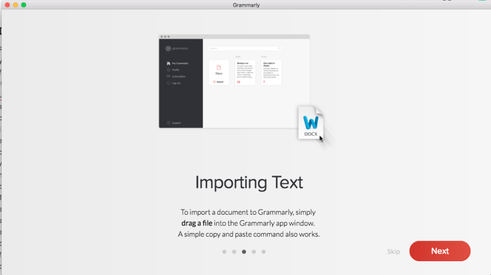 Grammarly Mac Welcome