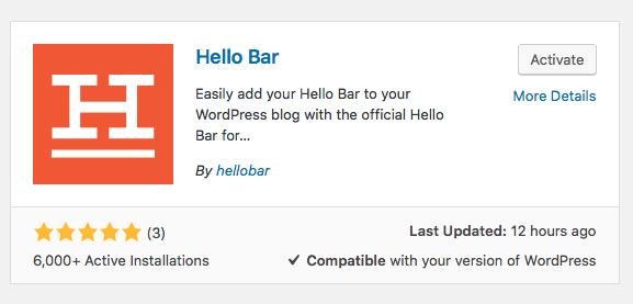 Hello Bar Active Install