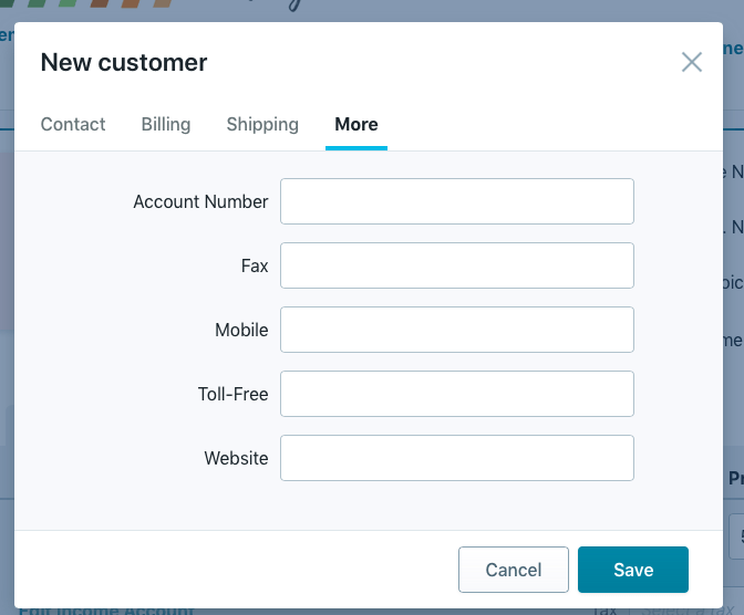 Wave New Customer More Option tab