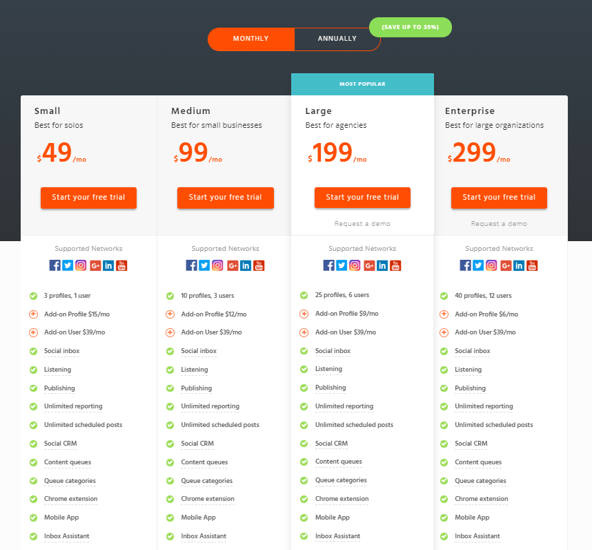Agorapulse pricing options