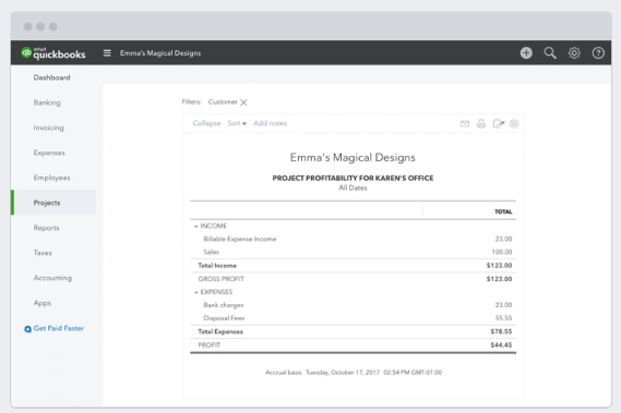 quickbooks track projects