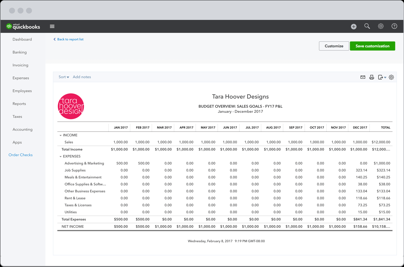 quickbooks custom report