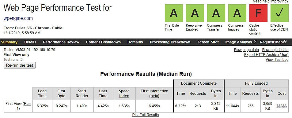 WP engine web page performance test