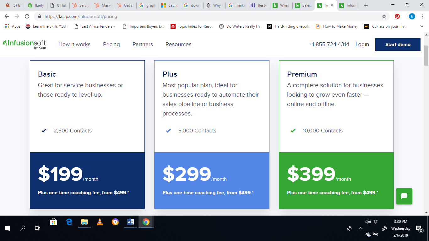 Infusionsoft by Keap pricing