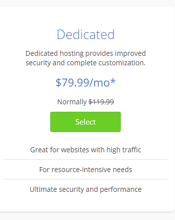 BlueHost Dedicated Pricing