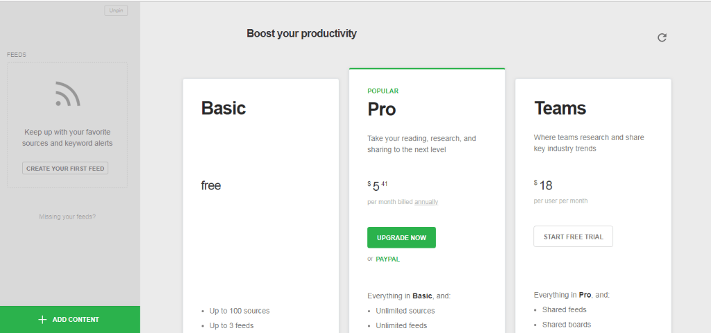 Feedly Pricing plans