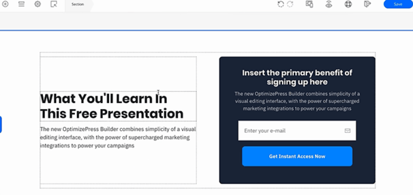 OptimizePressTemplates visual editing interface