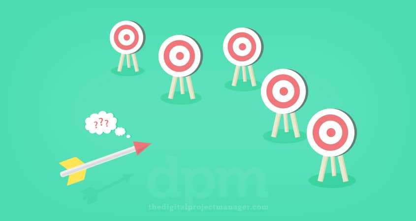 Image of an arrow trying to choose between multiple targets or goals