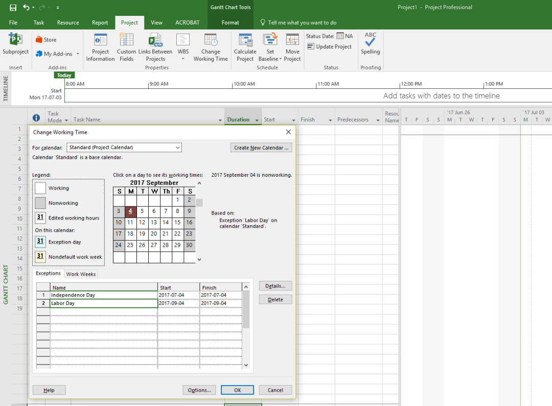 Example of how to create a project plan on Microsoft Project - 1. edit project information