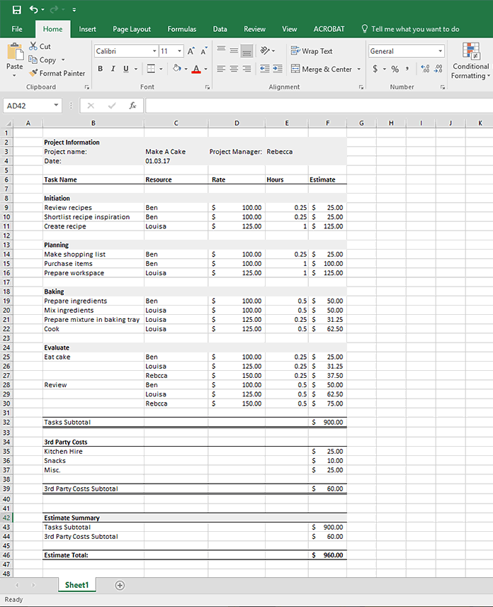 project budget estimate example