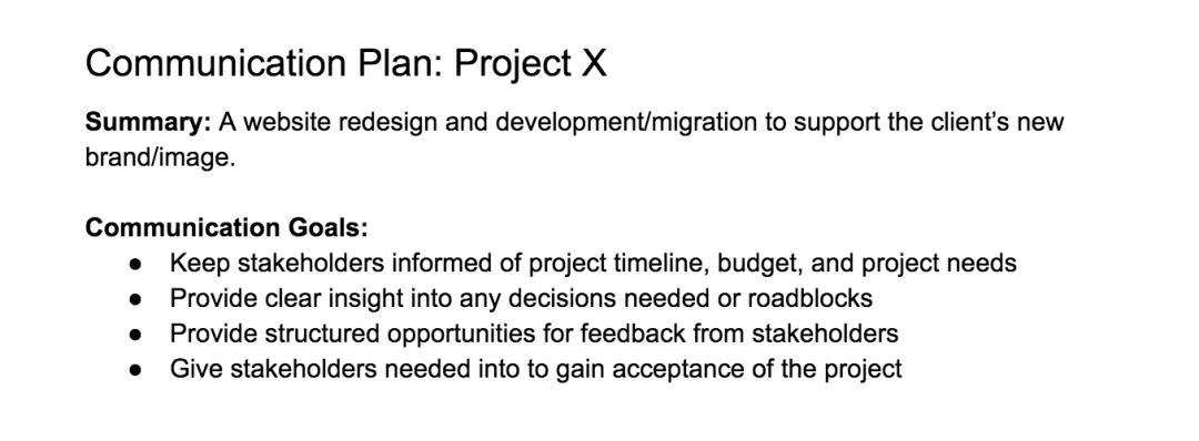 Project communication plan example - Communication goals