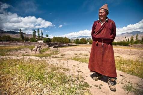 A Ladakhi farmer inspects his fields.