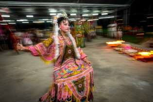 As a part of the religious ritual performers dance in costume and in character to spirits.