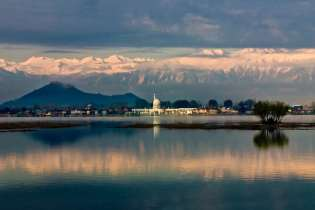 A view of Hazrat Bal Shrine over Dal Lake.