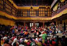 paro festival courtyard with dancers