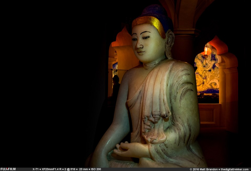 A Buddha in the upper floor of the pagoda at the Kek Lok Si Temple, in Penang.
