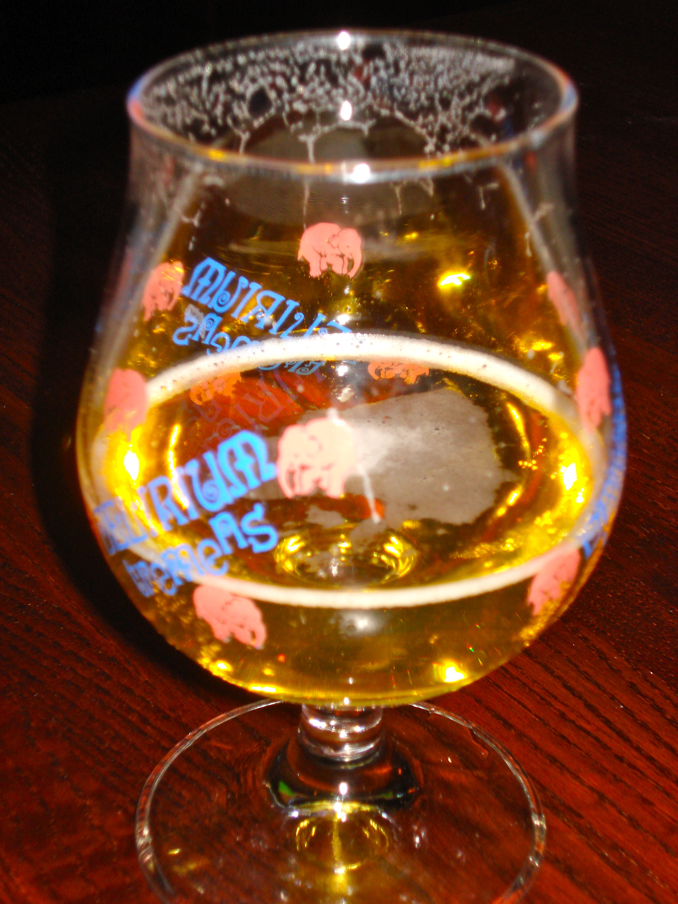 This is not my glass, as I do not drink beer.  However, I love the pink elephants on the glass, and therefore took a picture.