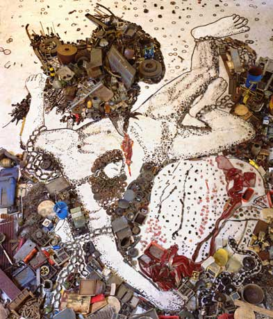"""Muniz's """"Prometheo,"""" from his Pieces of Junk Series from 2006, based on Titian's painting of the same name."""
